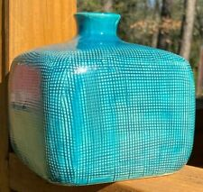 Square Teal Ceramic Vase - Short