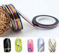 10 Rolls Striping Tape Line 0.8mm DIY Nail Art Tips Sticker Deco Colour Choice