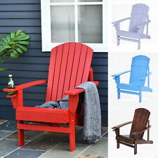 Outsunny Outdoor Wood Adirondack Chair Patio Chaise Lounge Deck Reclined Bench