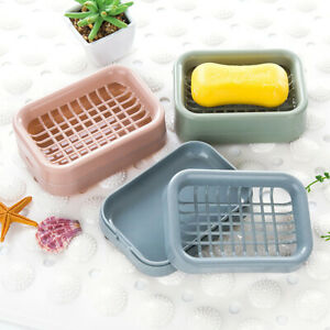 Double Layer Drain Tray Soap Dish Holder Plate Home Bathroom Shower Storage Case