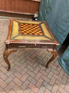 ANTIQUE CHESS TABLE - IN LAID LEATHER SURROUND - legs do not dismantle -