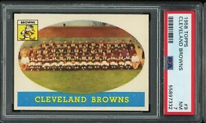 1958 Topps #9 Cleveland Browns PSA 7 Team Card Jim Brown  Well Centered