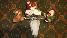 K's Collection Bear w/stocking, Santa on Sled & w/hymnal & 37 Plastic Ice Cycles