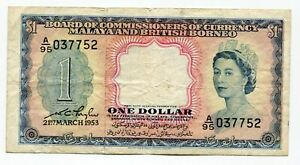 Malaya P-1 1 Dollars 1953 VF Rare