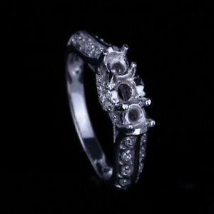 Three Stones Round Cut Genuine Diamonds Semi Mount 10K White Gold Wedding Ring