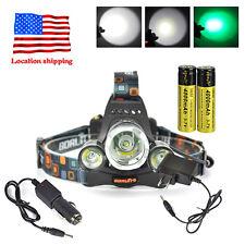 New listing BoruiT Xml T6 3Led Green White Headlamp Headtorch Tactical Flashlight 13000Lm