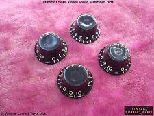 Vintage 1959 Gibson Black Bonnet Knob Set Les Paul Special ES-355 1958 1957 1956