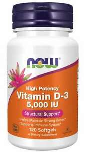NOW Vitamin D-3 5000 IU - Immune and Structural Support - 120 Softgels