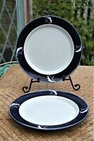 "Dansk Flora Indigo (2) DINNER PLATES Indigo Blue & White 10 5/8"" Japan"