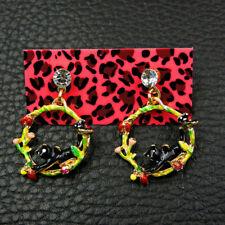 Betsey Johnson Enamel Black Cute Cat Dangle Earrings Women Fashion Jewellery New
