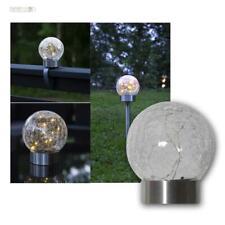 6er Set LED Solar Kugelleuchte 23x6cm mit Echt-Glas Kugel-Lampe Balkon-Leuchten