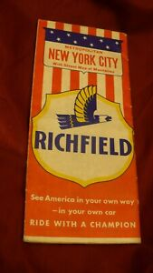 New York City Manhattan Richfield  Gas & Oil road travel map 1950's? ARCO #MB