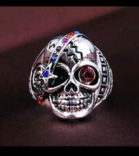 Mens biker silver plated skull ring size Q