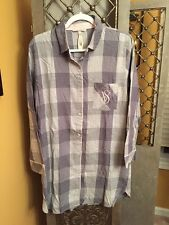 Victorias Secret PJ's Long Sleeve Button Shirt Front VS Plaids Grey Small NWT