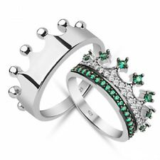 sterling silver crown rings ,jewelry,queen and king crown ring set,princess ring