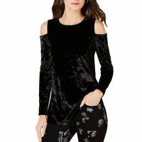 MICHAEL KORS NEW Women's Velvet Cold-shoulder Blouse Shirt Top TEDO