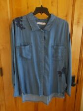 BILLY T TUNIC 2XL LYOCELL BUTTON FRONT LSLV W/COLLAR POCKETS METAL BUTTONS NWT