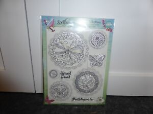 8  CLEAR RUBBER STAMPS GARDEN COLLECTION DRAGONFLY BUTTERFLY BIRD CARD MAKING