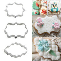 3x Stainless Steel Frame Biscuit Cookie Cutter Fondant Cake Mold Mould Set TOP