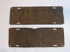 Rare 1924 Michigan License Plate Set Embossed Vintage Metal Pair Deco Mancave