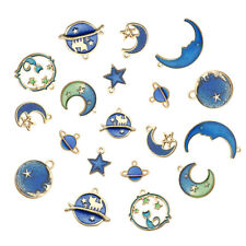 8Pcs Enamel Cat Moon Star Earth Planet Charms Pendants DIY For Jewelry Making