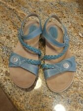 EARTH ORIGINS Sandals - Teal Open Toe  Leather TRACY Size 9.5W - 2017S YLA7