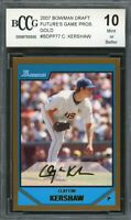 2007 Bowman Draft Prospects Gold #BDPP77 Clayton Kershaw Rookie BGS BCCG 10 MINT
