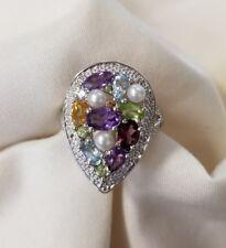 925 sterling silver multi gemstone pearl amethyst  pear shape ring size 7