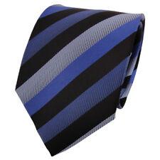 Schicke Krawatte blau verkehrsblau graublau royal schwarz gestreift - Binder Tie