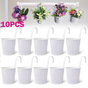 10 Pack Hanging Flower Plant Iron Pot Basket Planter Holder Balcony Garden Decor