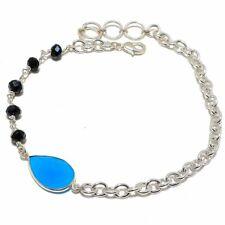 "Blue Onyx, Black Onyx Gemstone Silver Fashion Jewelry  Anklet 8-9"" SB3926"