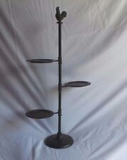 3 Tier Tabletop Farmhouse Kitchen Display Swivel Arms Rustic Rooster Finial