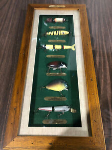 """Fishing Lures of The 20th Century. Rivers Edge Display. 9.5"""" x 21"""". NICE!"""