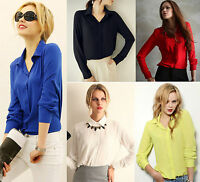T-shirt Chiffon Long Sleeve Casual OL Top Blouses For Women Lady Collar
