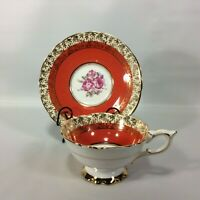 Royal Stafford Tea Cup and Saucer Dark Orange Red Gold Overlay Wide Mouth Roses