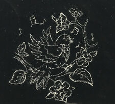 EMBROIDERED Champagne on BLACK Silk Velvet Fabric - Bird & Flowers