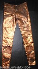 New J Brand Jeans Super Skinny Womens Leather Coated Bronze Metallic 27 28 X 30
