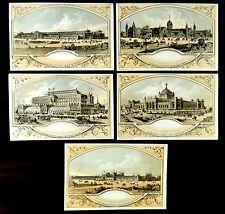 5 Souvenir Trade Cards 1876 PHILADELPHIA CENTENNIAL EXPOSITION Buildings