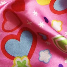 Pink Satin Fabric with Children's Hearts & Clouds Print (Per Metre) CLEARANCE