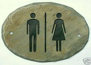 CARVED SLATE UNISEX RESTROOM SIGN/ Door/LADIES/Outhouse