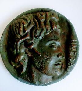 Greek Coin Wall plaque profile Ceramic art Vintage Wall Hanging Forte originals