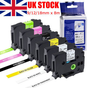 Compatible with Brother TZ Tze Label Tape fits P-Touch Printer 18mm/12mm/9mm x8m