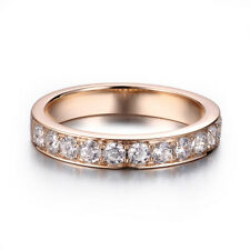 0.7ct Round Cut Flawless Moissanites Anniversary Band 18K Rose Gold Jewelry Ring