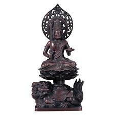 Bodhisattva (Monju Bosatsu) : Japanese Bronze Statue w paulownia wood box