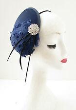 Navy Blue Black Silver Feather Fascinator Headband Headpiece Races Vintage A99