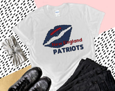Nfl New England Patriots V-Neck T-Shirt Top Women's White Plus Size Handmade New