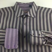 Robert Graham Black Purple Silver Shirt Size XL Striped Long Sleeve Button