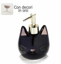 Distributeur pour savon en forme de chat en ceramique avec details or