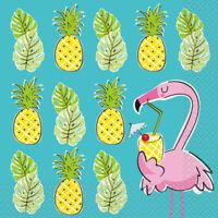 16 x Summer Pineapple & Flamingo Napkins 33cm Girls Birthday Party Tableware