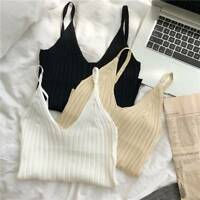 Women Lady Sexy Knitted Crop Top Crop Sleeveless Cropped Vest Tank Top Camisole